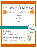 SYLLABLE PUMPKINS Orton Gillingham aligned activities for
