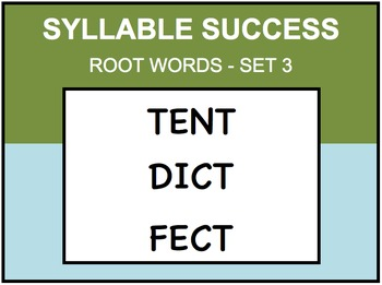 SYLLABLE SUCCESS 3 - PREFIXES, SUFFIXES, ROOT WORDS