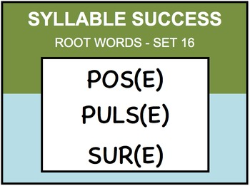 SYLLABLE SUCCESS 16 - PREFIXES, SUFFIXES, ROOT WORDS