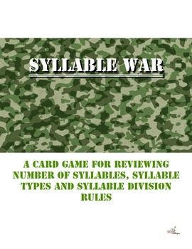 SYLLABLE WAR Classic war card game for syllable instruction