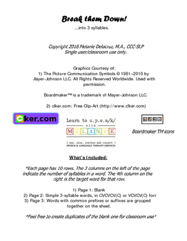 SYLLABLES/ Break them down into 3  (Worksheet)