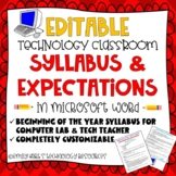 SYLLABUS or CLASS EXPECTATIONS SHEET for TECH TEACHER or COMPUTER LAB TEACHER