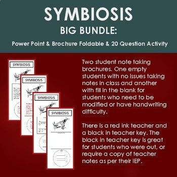 SYMBIOSIS BIG BUNDLE: Power Point, Brochure Foldable and 20 Question Activity