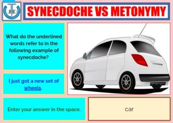 SYNECDOCHE WORKSHEETS WITH ANSWERS