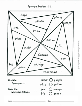 VOCABULARY WORKSHEETS | Synonym PRACTICE | Color by Words GEOMETRIC  | Gr 4-5