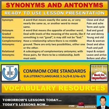 SYNONYMS AND ANTONYMS: READY TO USE LESSON PRESENTATION