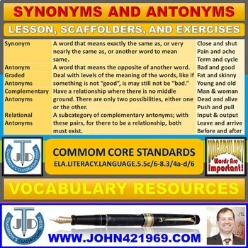 SYNONYMS & ANTONYMS: LESSON PLAN & WORKSHEETS