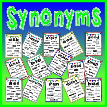 SYNONYMS POSTERS - ENGLISH CREATIVE WRITING VOCABULARY DISPLAY