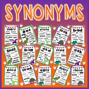 SYNONYMS VOCABULARY POSTERS -DISPLAY EYFS KS1-2 ENGLISH (DINOSAUR THEME)