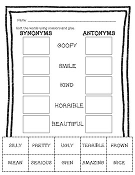 Synonyms Vs Antonyms 3 No Prep Printables To Review And Assess Tpt