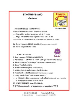 SYNONYMS in BINGO GAMES |Grades 4-5-6 | VOCABULARY Activities | Puzzles