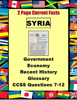 SYRIA Fact Sheet 2 Page History, Issues, Economic Statistics
