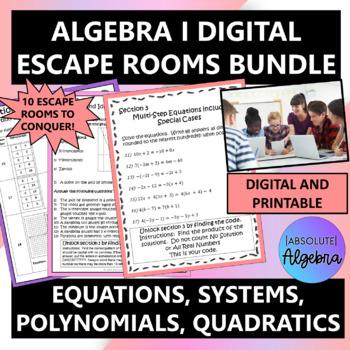 Algebra 1 Digital Escape Room Bundle
