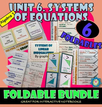 SYSTEMS OF EQUATIONS. UNIT 6. ALGEBRA 1. Foldables Bundle