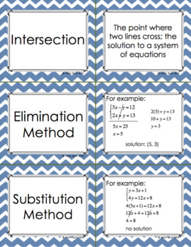 SYSTEMS OF EQUATIONS: Vocabulary Activities (Matching Cards & Crossword Puzzle)