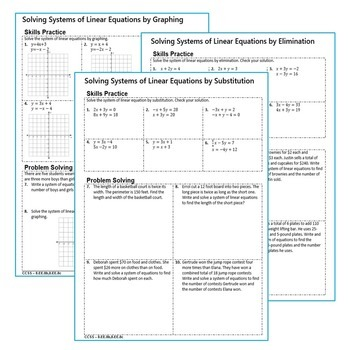 SYSTEMS OF LINEAR EQUATIONS - Homework Practice, Graphic Organizers, Fun Puzzles