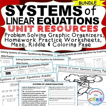 SYSTEMS OF LINEAR EQUATIONS - Homework, Graphic Organizers, Fun Puzzles BUNDLE