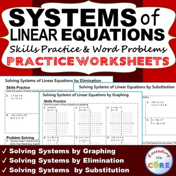 SYSTEMS OF LINEAR EQUATIONS Homework Worksheets: Skills Practice ...