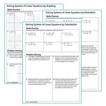 SYSTEMS OF LINEAR EQUATIONS Homework Worksheets: Skills Practice & Word  Problems