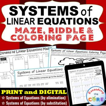 SYSTEMS OF LINEAR EQUATIONS Maze, Riddle, & Coloring Page (Fun MATH Activities)