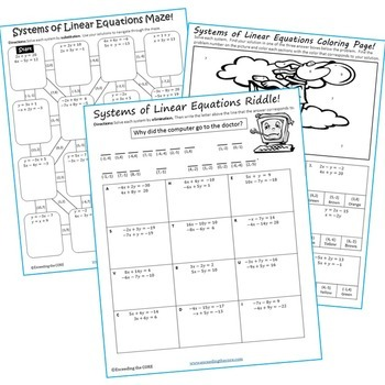 SYSTEMS OF LINEAR EQUATIONS Maze, Riddle, & Color by Number -Fun MATH Activities