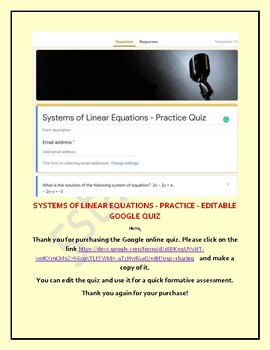 SYSTEMS OF LINEAR EQUATIONS - PRACTICE - Editable Google Quiz