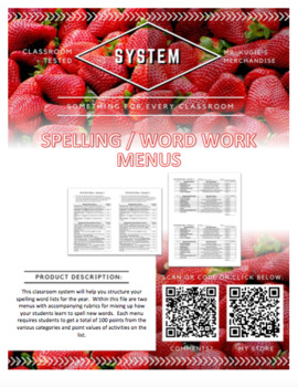 SYSTEMS - Spelling / Word Work Menus (Year Long)