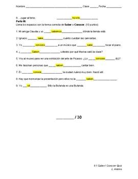Saber / Conocer Quiz