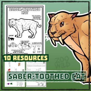 Saber-Toothed Cat -- 10 Resources -- Coloring Pages, Reading & Activities