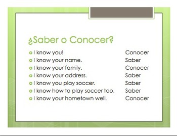 Saber Vs Conocer Notes