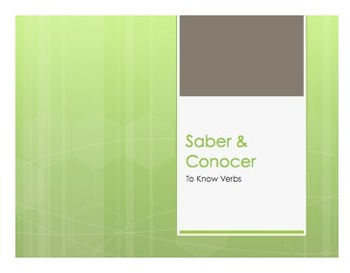 Saber Vs Conocer Notes
