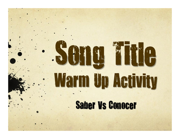 Saber Vs Conocer Spanish Song Titles