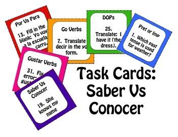 Saber Vs Conocer Task Cards