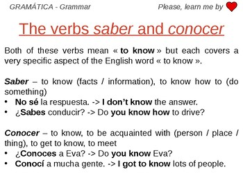 Saber and Conocer - Grammar Work Spanish
