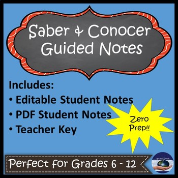 Saber and Conocer Guided Notes and Key