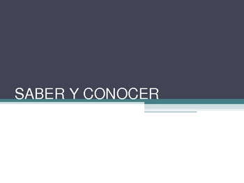 Saber and Conocer PowerPoint with explanation, examples, and practice