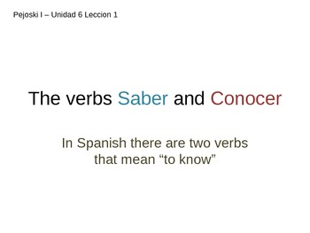 Saber and Conocer - PowerPoint/Explanation with Examples