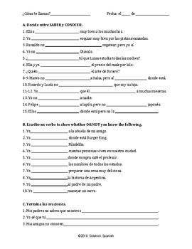 Saber and Conocer Practice Worksheets