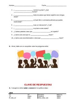 Saber o Conocer - Apuntes, Práctica y Conversacíón (Saber vs Conocer Activity)