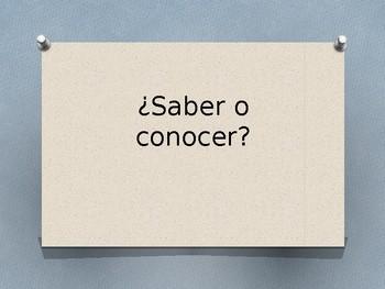 Saber or Conocer Grammar Whiteboard Practice
