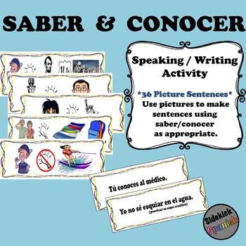 Saber or Conocer Picture Sentence Activity