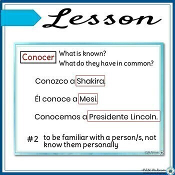 Saber or Conocer Lesson/Practice (Spanish): Animated, interactive PowerPoint