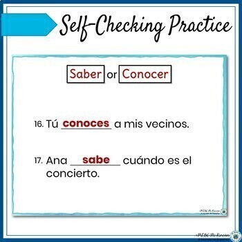 Spanish Saber vs Conocer Lesson and Practice