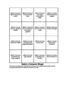 Saber vs. Conocer BINGO
