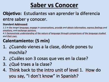 Saber vs Conocer--Initial Presentation
