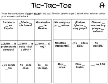 Ser and Estar: Spanish Tic-Tac-Toe Game