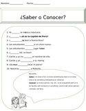 Saber vs. Conocer Worksheet