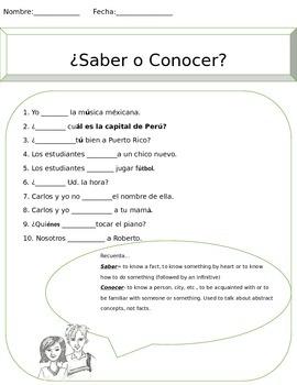 Saber vs. Conocer Worksheet
