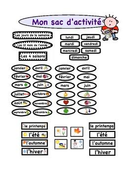 Sac d'activité- Thème: JOURS, MOIS et SAISONS