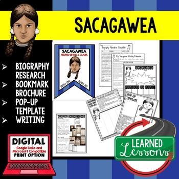 Sacagawea Biography Research, Bookmark Brochure, Pop-Up, Writing